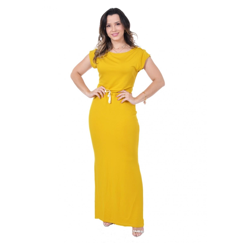 Vestido longo, modelagem levemente ajusta