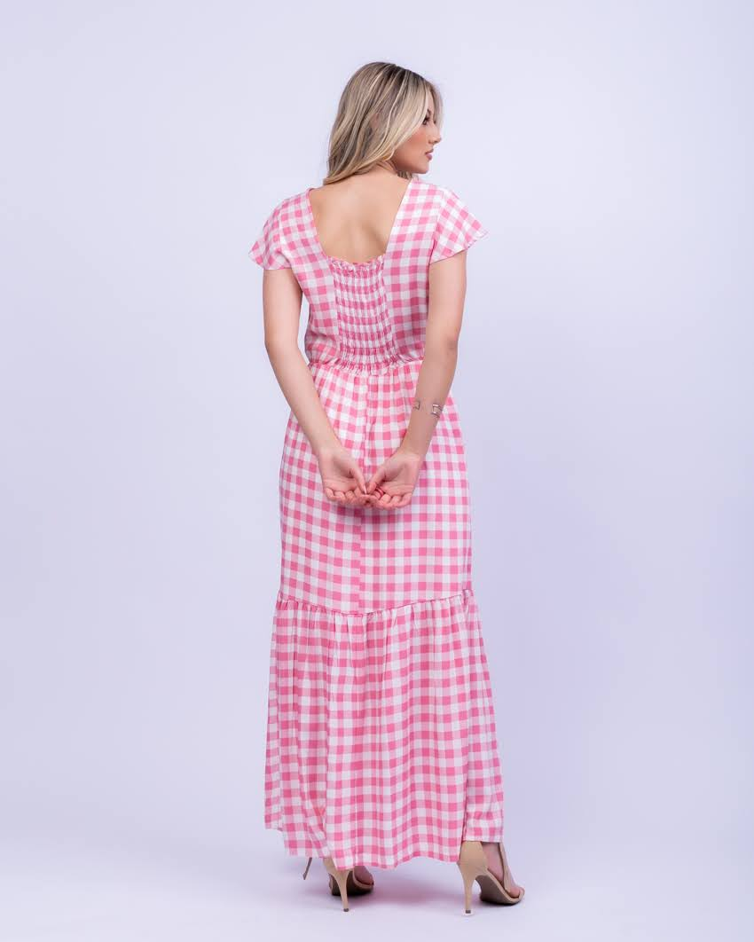 Vestido Longo Xadrez Vichy