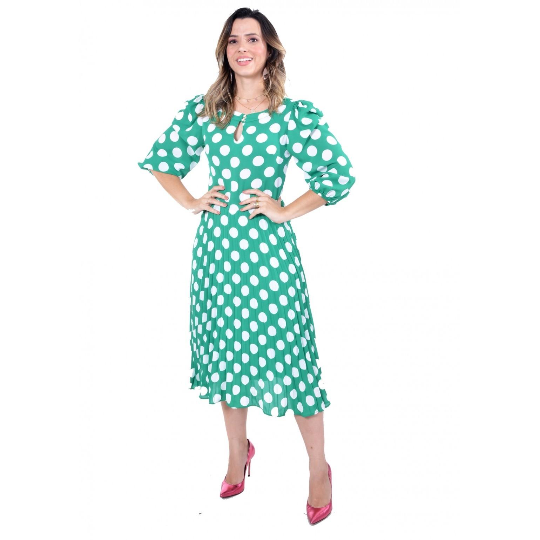 vestido midi em crepe de poas