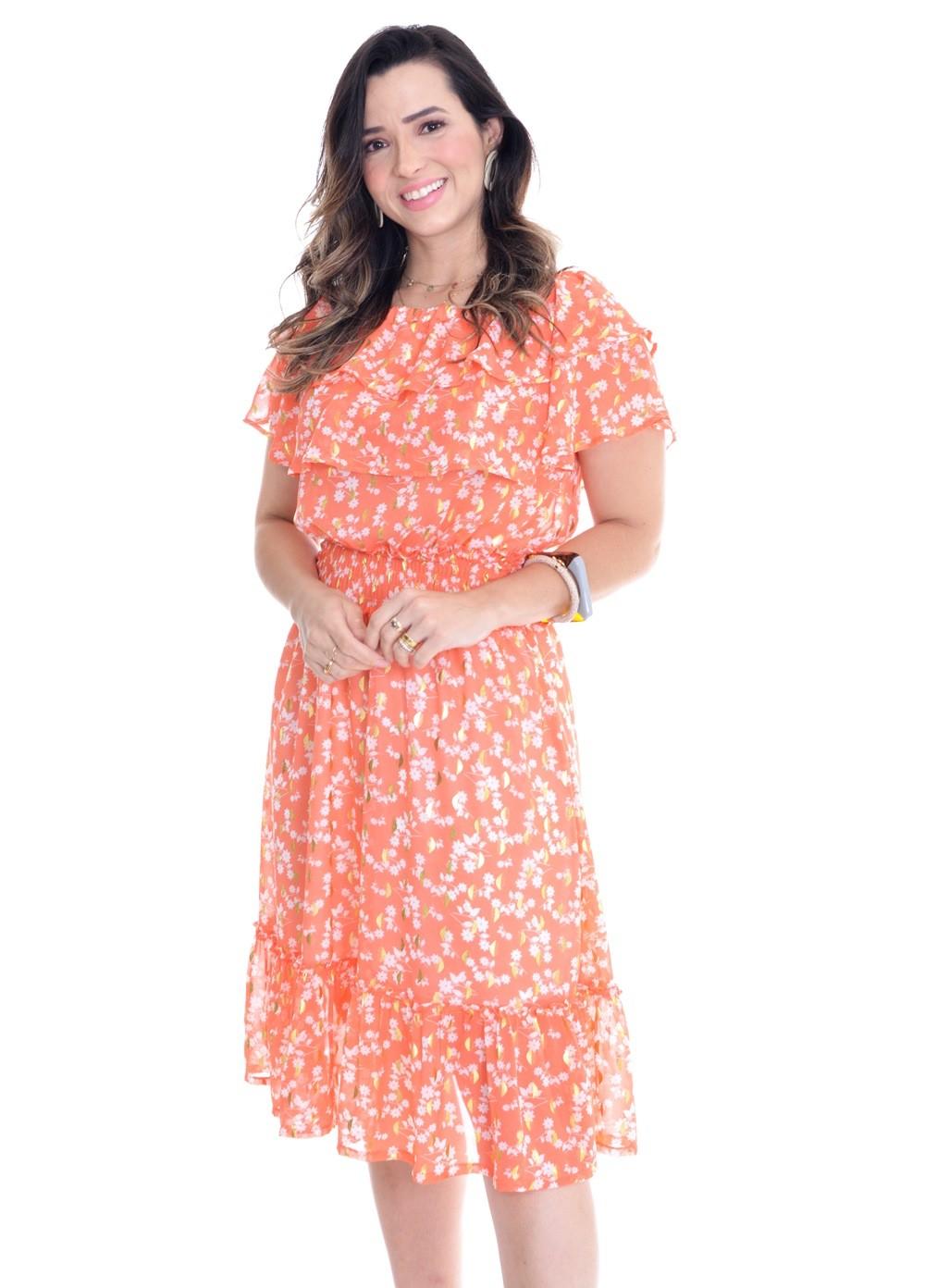 vestido midi em crepe floral estampado
