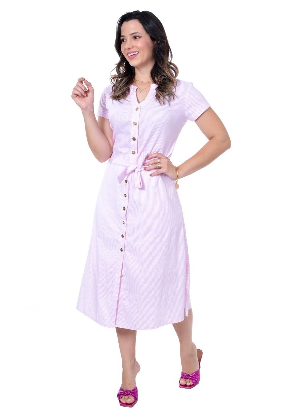 vestido midi em tricoline listrada