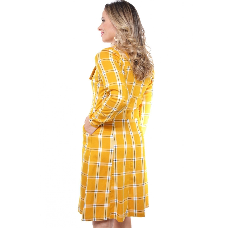 vestido sobretudo xadrez