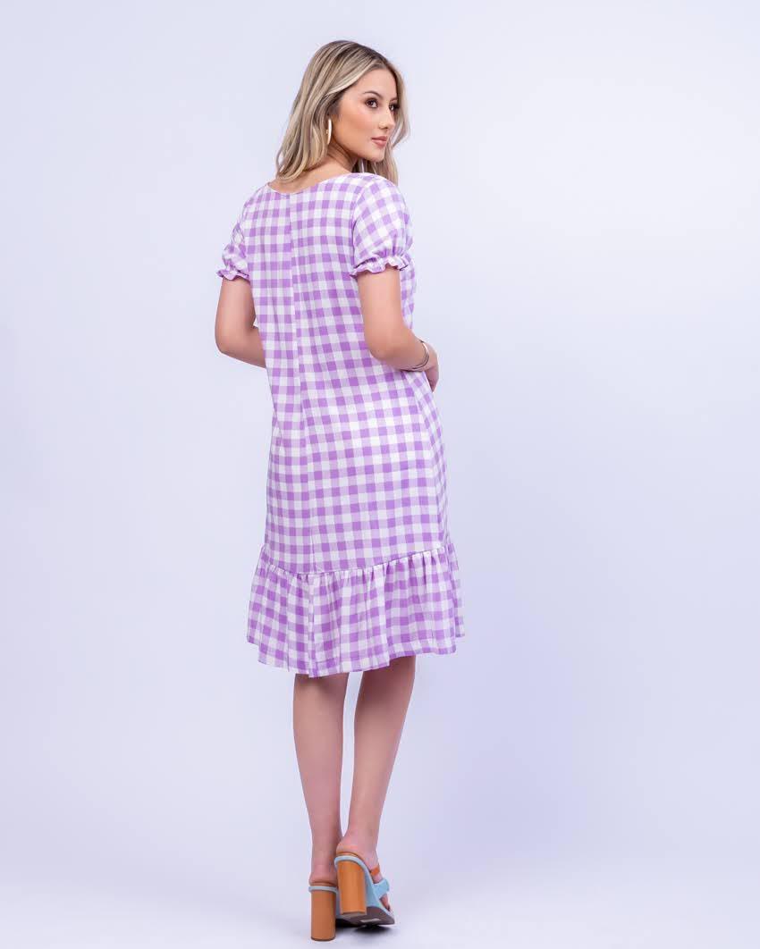 Vestido Vichy Bordado