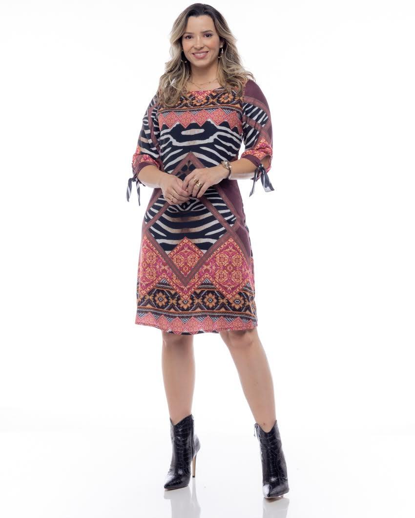 Vestido Viscose Estampa Étnica