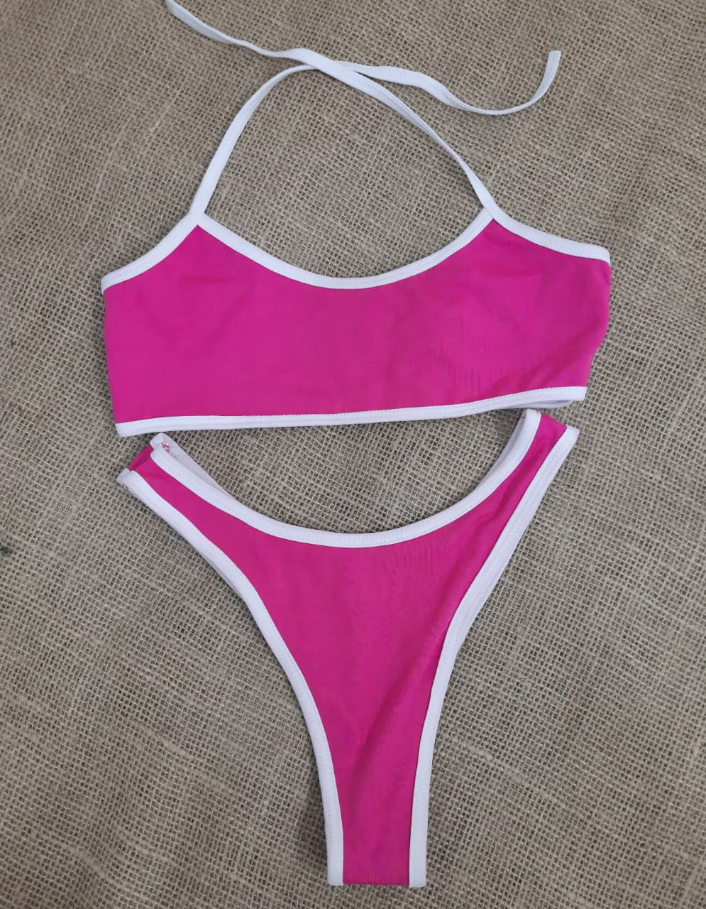Biquíni reto amarra Nathalie rosa pink