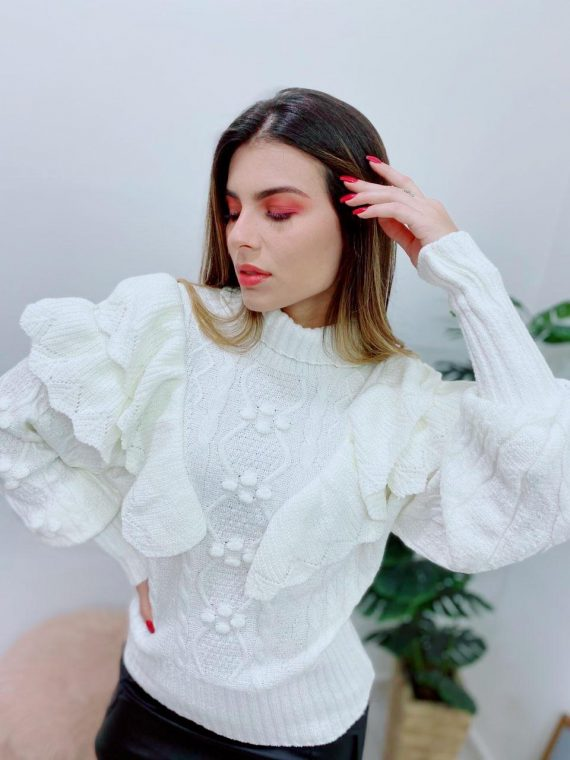 Blusa tricot babados