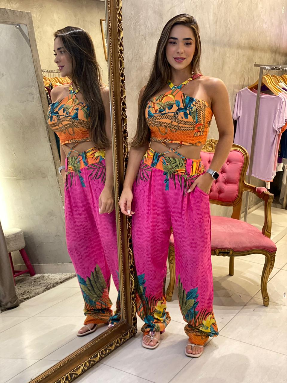 Conjunto calça e cropped Thais