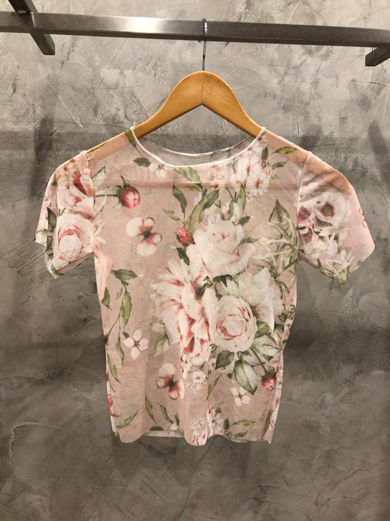 Cropped tule floral rose BF