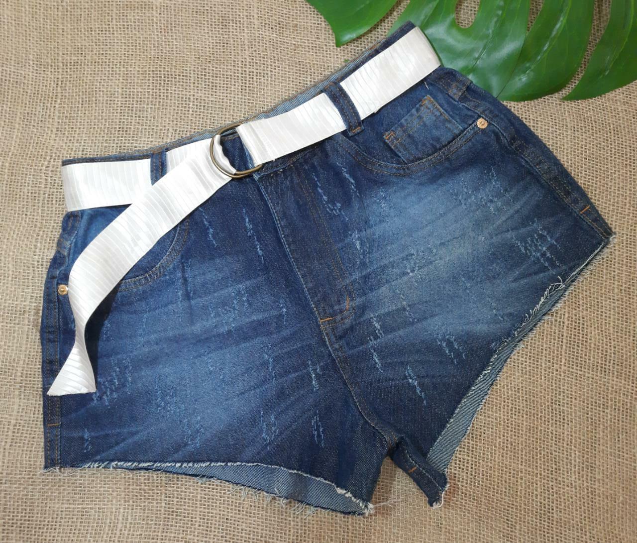 Short jeans Meg cinto branco