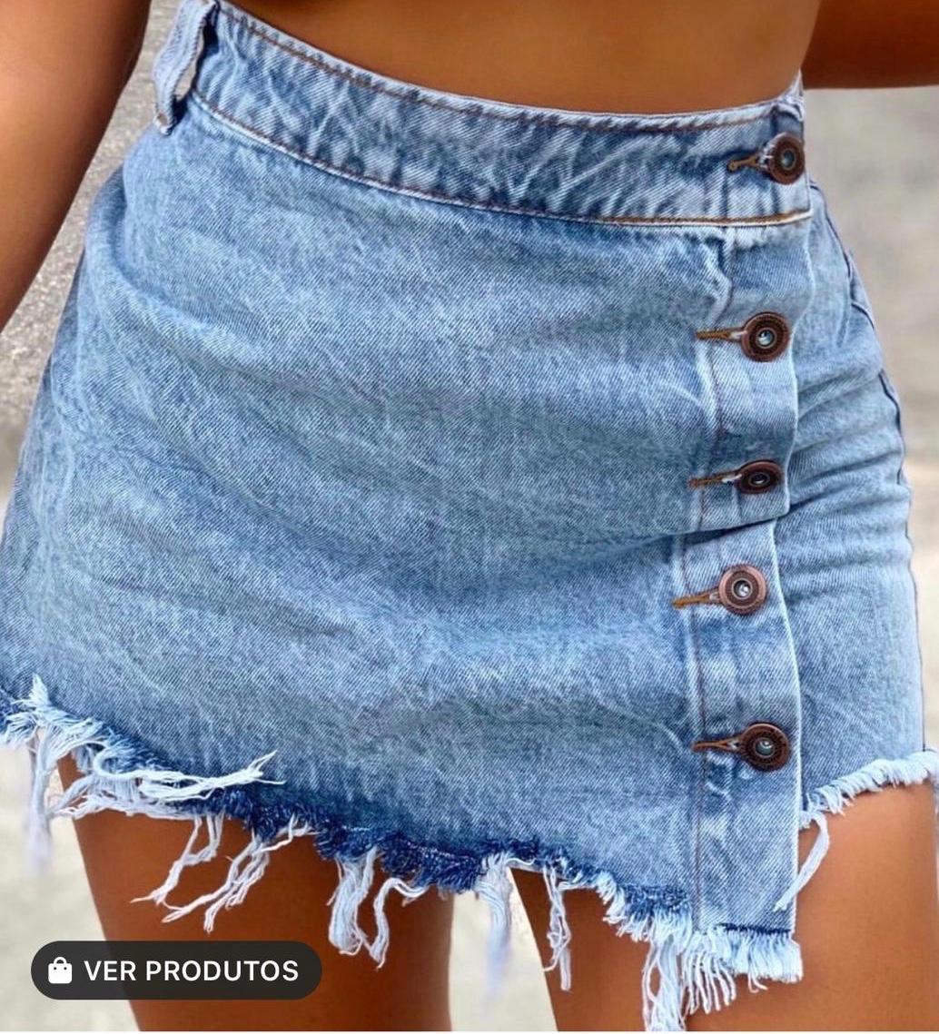 Short saia jeans 1027