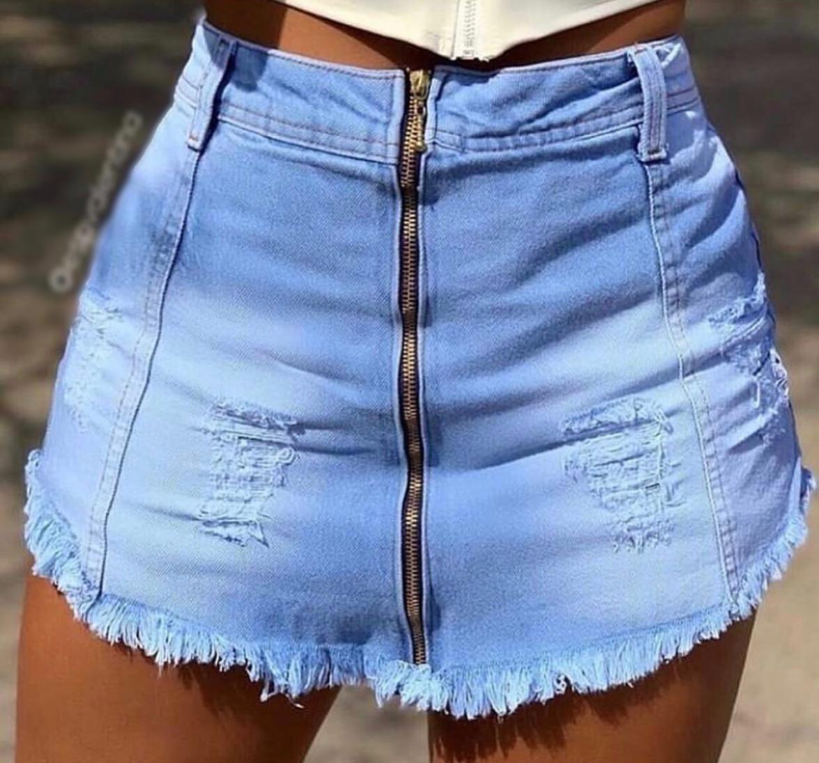 Short saia jeans 1001