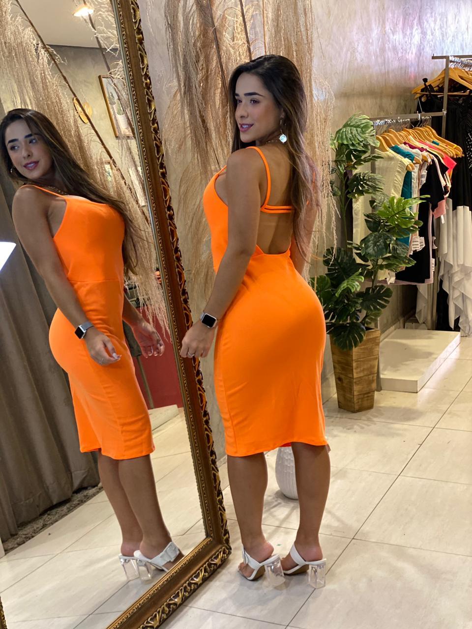 Vestido crepe Lidia laranja BF