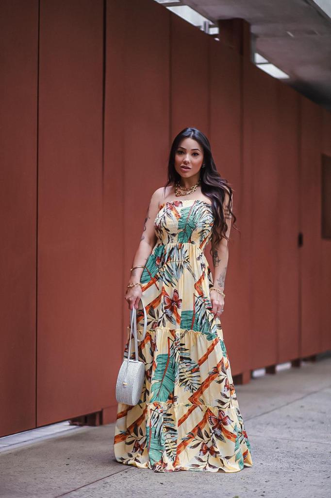 Vestido longo estampado Ester