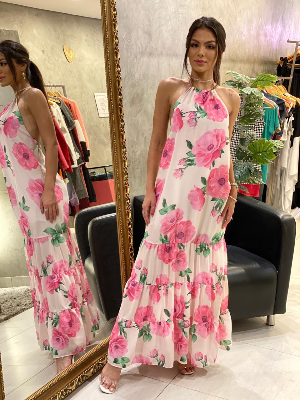 Vestido longo floral Juliana