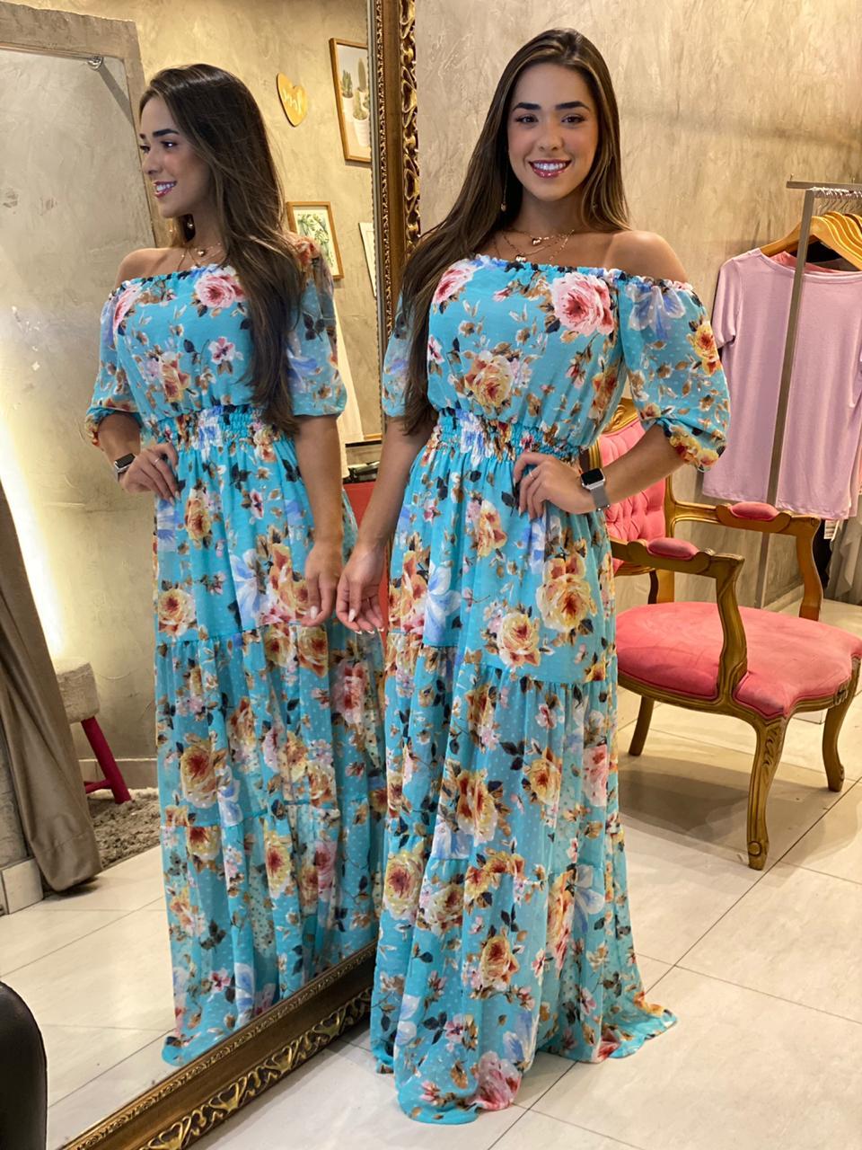 Vestido longo floral Turim