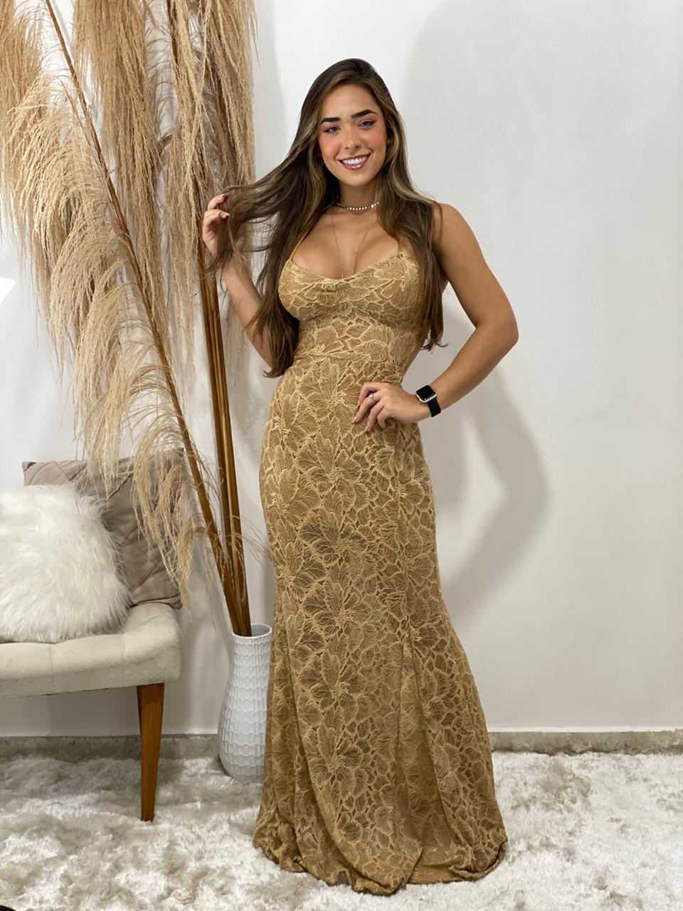Vestido longo renda Viviane