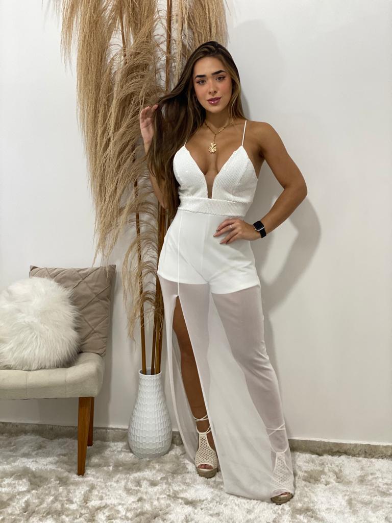 Vestido longo tule detalhe paetê Lilia