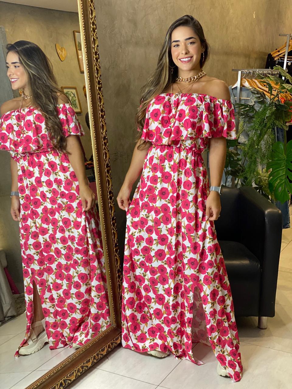 Vestido ombro a ombro floral Julia