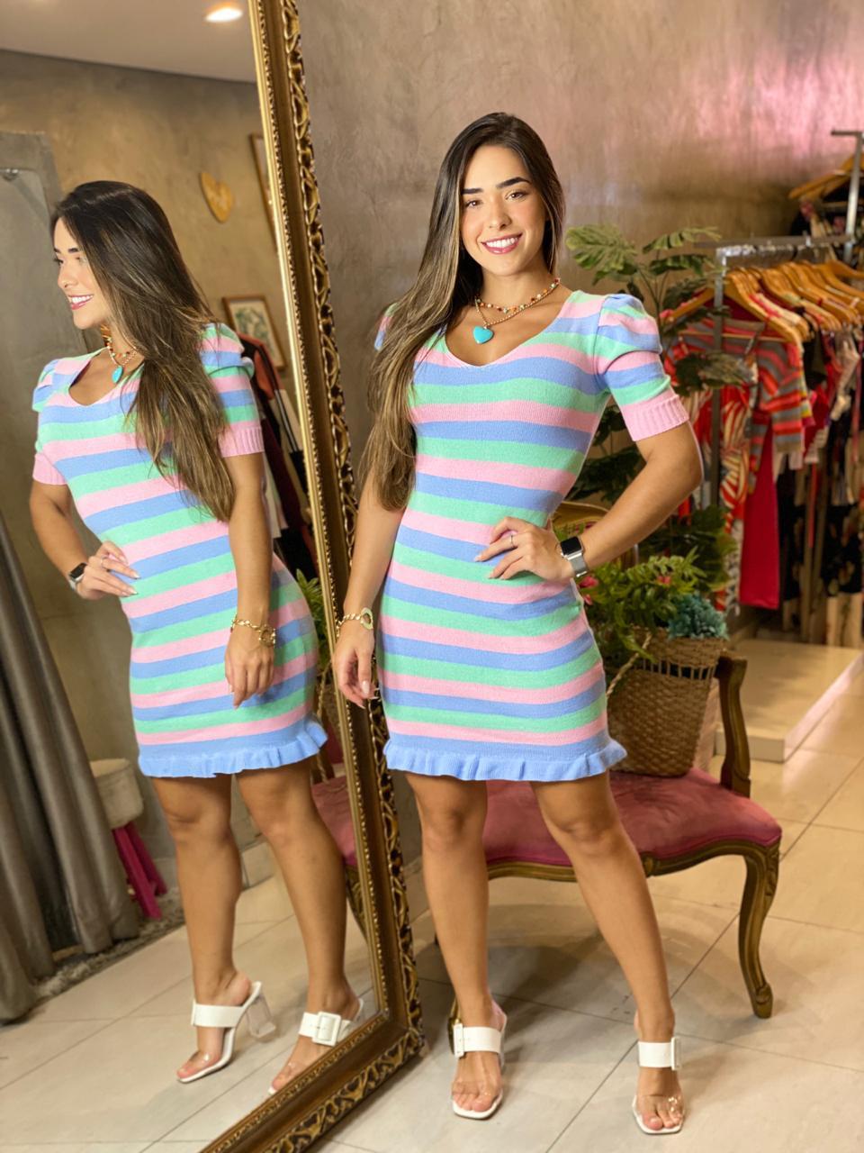 Vestido tricot listras Luiza