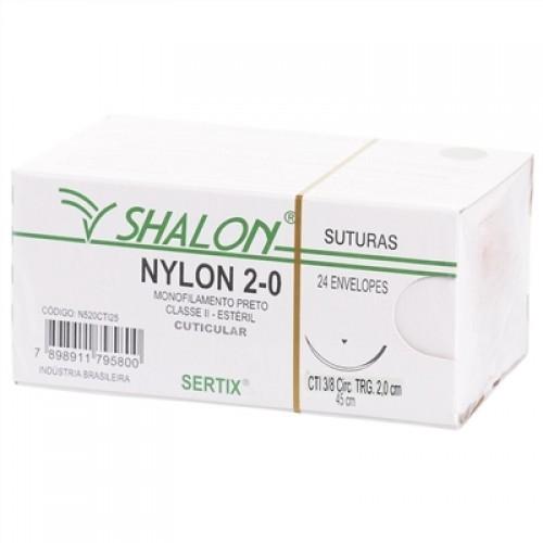 FIO PARA SUTURA NYLON 2-0 COM AGULHA TRIANGULAR DE 2,0CM