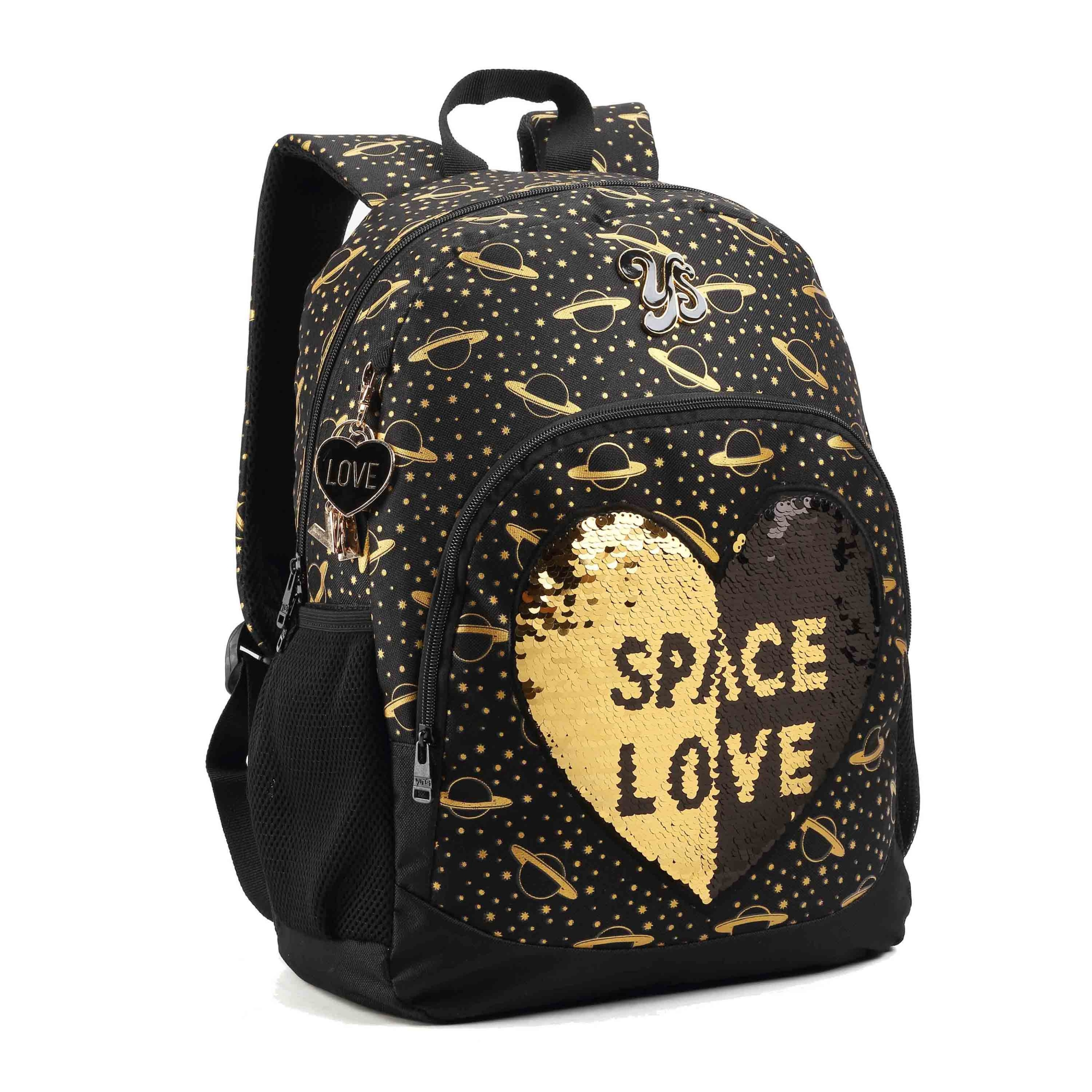 "MOCHILA 16"" SPACE LOVE DOURADA - SEANITE"