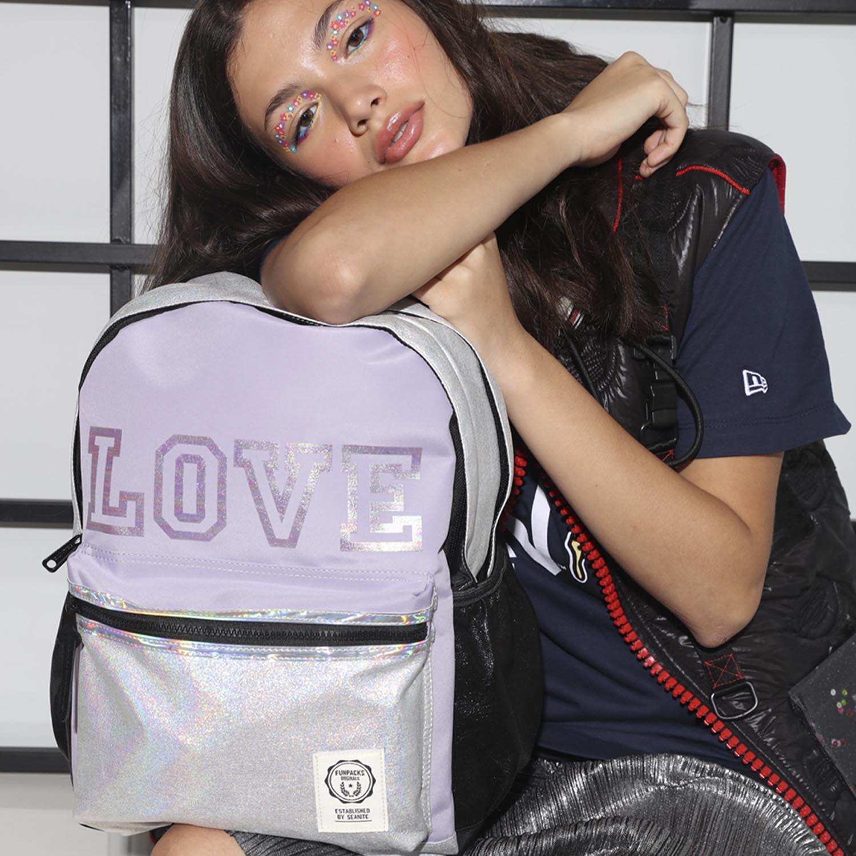 """MOCHILA FUNPACKS LOVE 17"""" LILAS - SEANITE"""