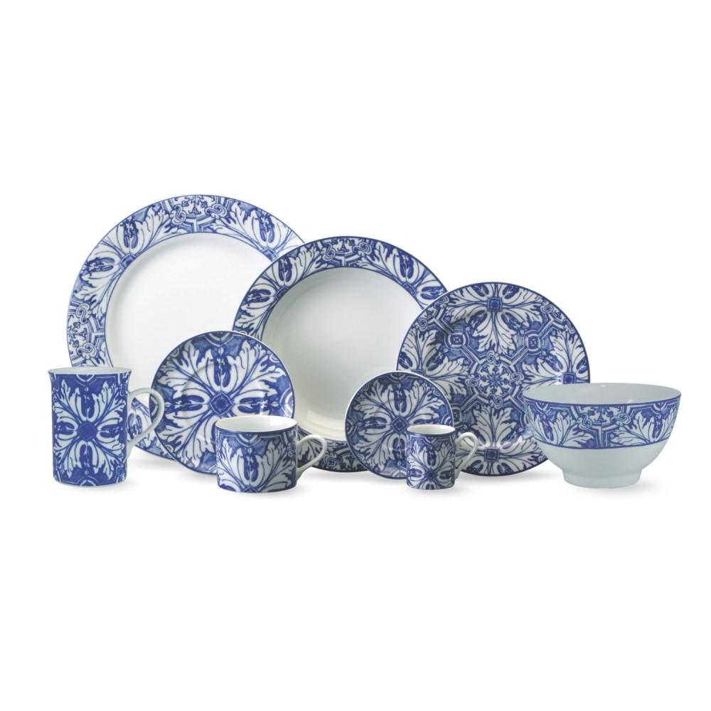 Aparelho De Jantar E Chá 30 Peças Com Prato Raso 27 Brasilia Azulejos Ref:228825 2257 - Schmidt