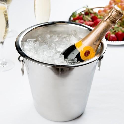 Balde De Champagne Inox 4 Litros 21cm Com Argolas Liso Ref:wx4395 - Wellmix