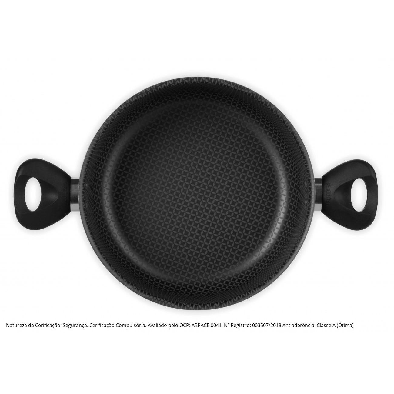 Caçarola Antiaderente N.22 Com Tampa De Vidro Linha Gourmet Ref:53222 - Multiflon