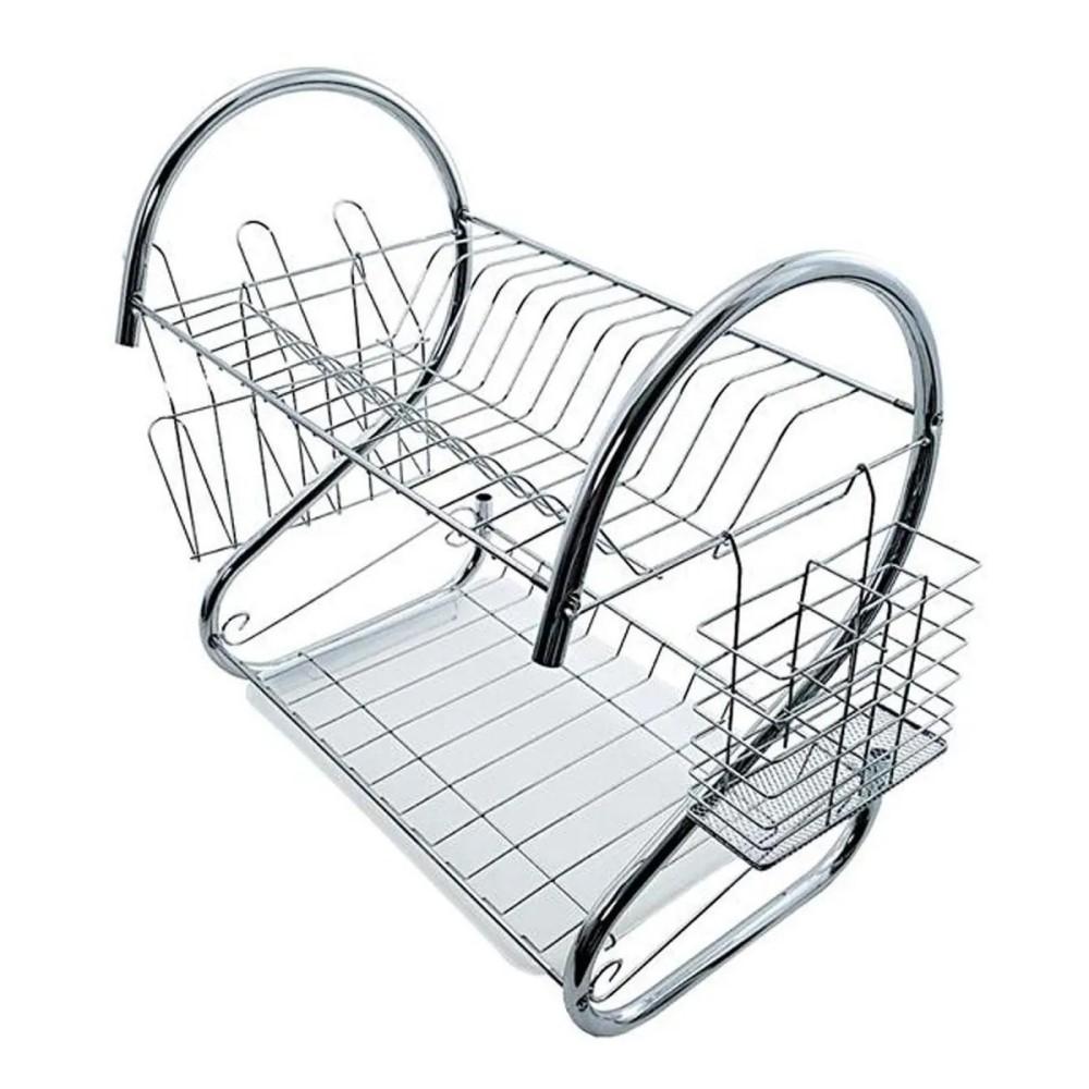 Escorredor De Pratos Duplo Com Porta Talheres E Copos Para 16 Pratos Ref:ca09519 - Imporiente