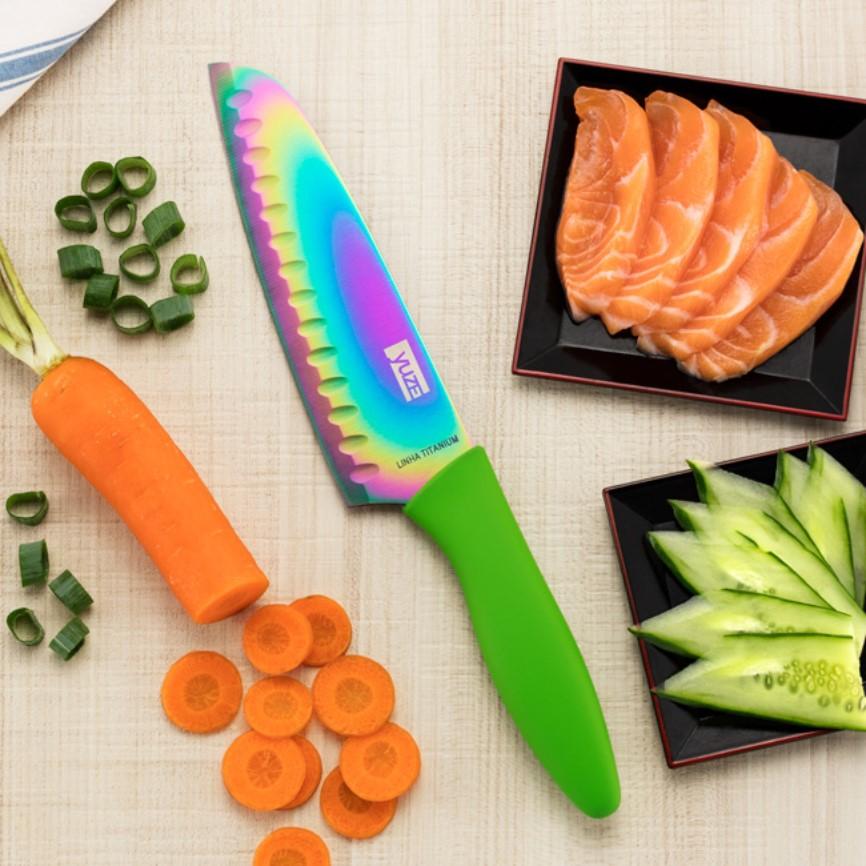 Faca De Cozinha Titanium Color Santoku 7pol Ref:007 - Yuze