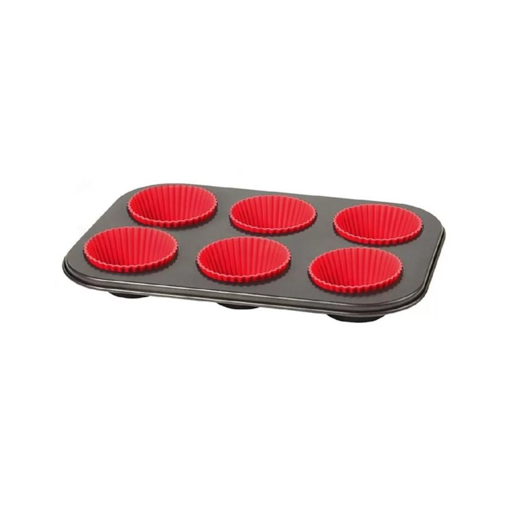 Forma Para Cupcakes Com 6 Cavidades Com Forma De Silicone Ref:wx7080 - Wellmix