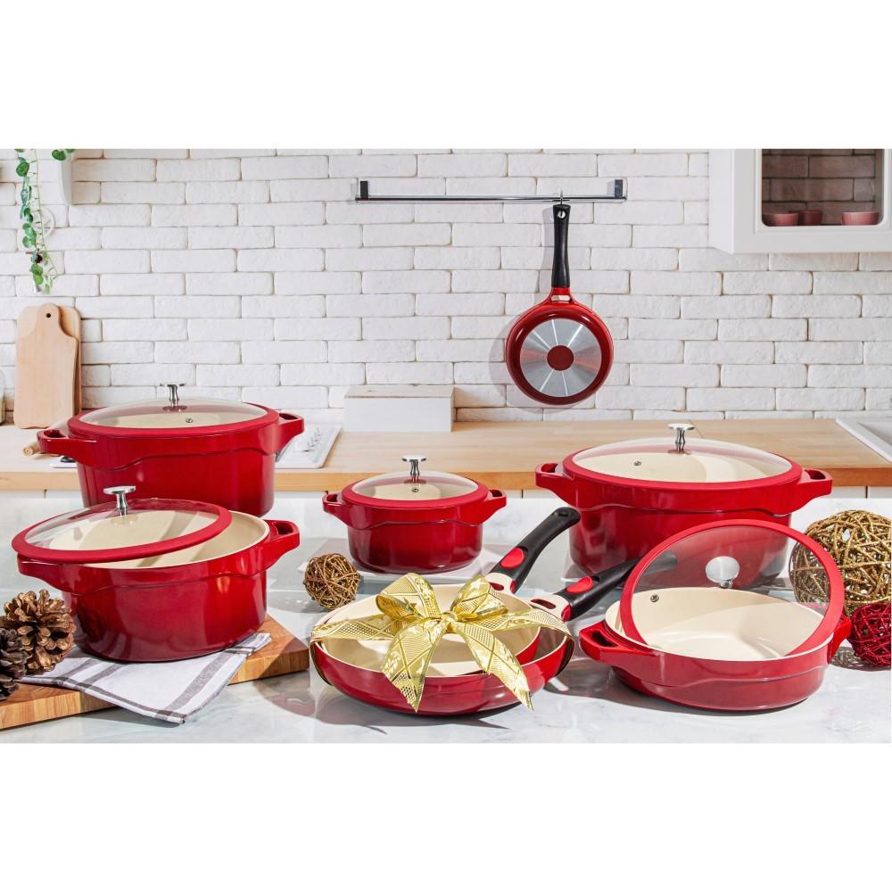 Frigideira Le Cook Red Com Alças E Tampa Ref:lc1846 - Le Cook