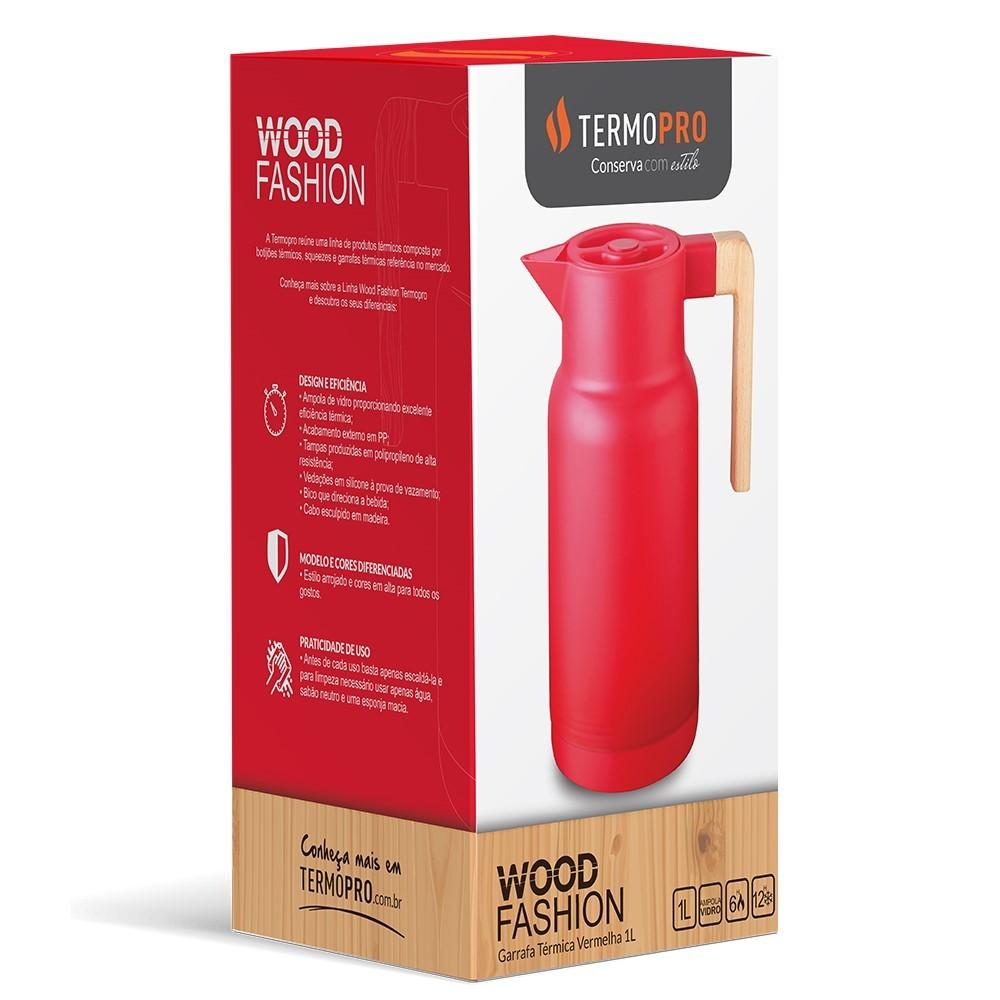 Garrafa Térmica Fashion Vermelha 1 Litro Ref:tp6549 - Termopro