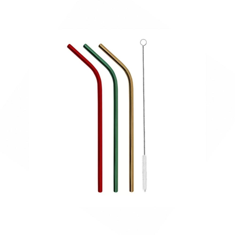 Jogo Com 3 Canudos 6mm Inox Color E 1 Escova Ref:20319 - Yazi