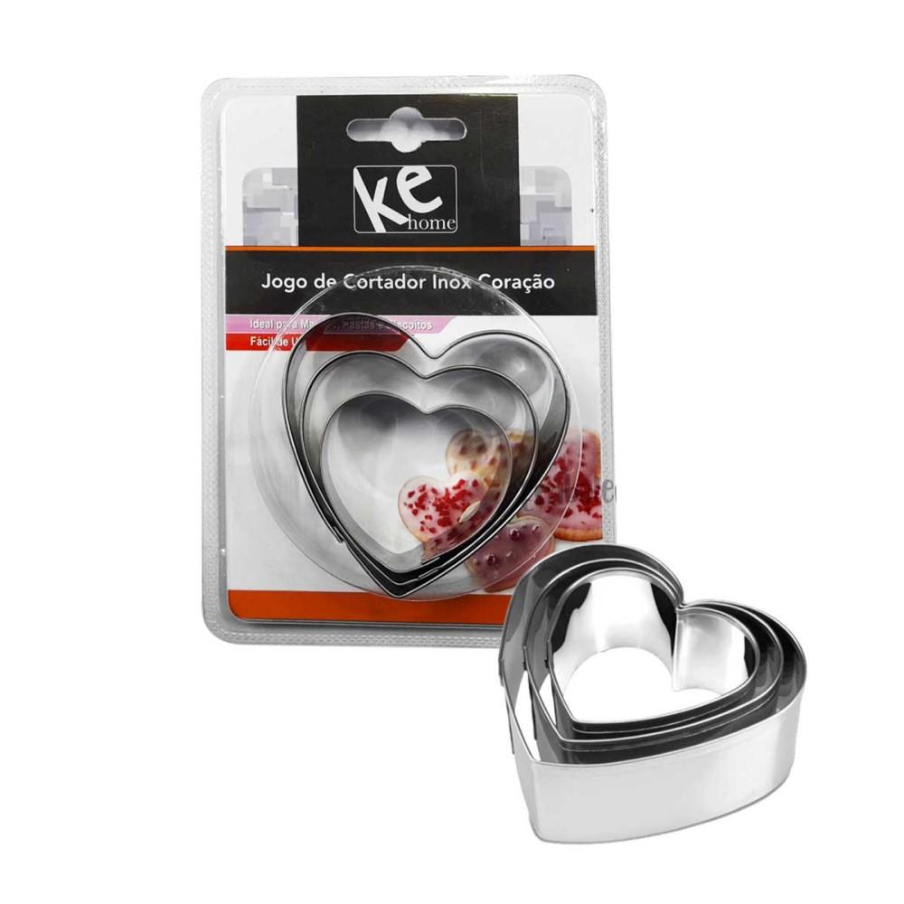 Jogo De Moldes Coração Inox E Plastico 3 Peças Ref:6394 - Ke Home