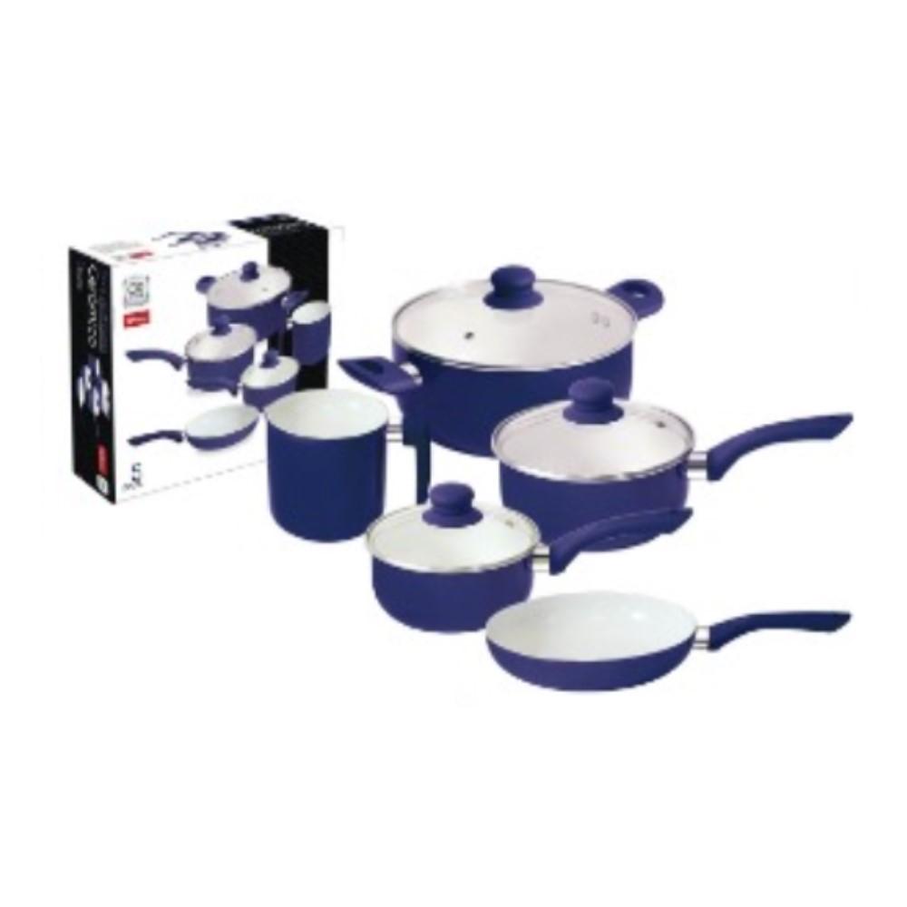 Jogo De Panelas 5 Peças Com Revestimento Cerâmico Azul Ref:wx6020 - Wellmix