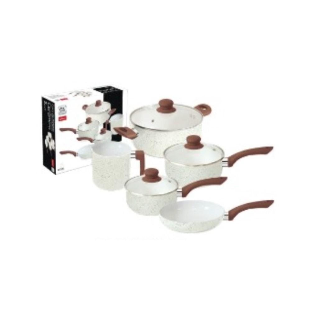 Jogo De Panelas 5 Peças Com Revestimento Cerâmico Vanilla Ref:wx4919 - Wellmix