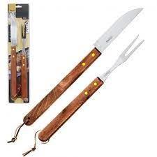 Kit Churrasco Com 2 Peças Garfo E Faca 46cm Holz Ref:wx4749 - Wellmix