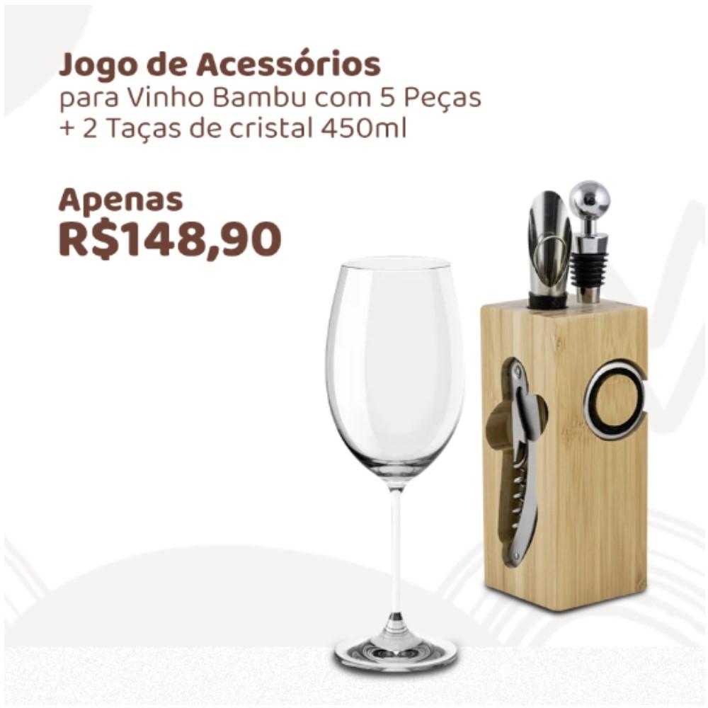 Kit Especial Dia do Homem Conjunto Vinho 5 Peças + 2 Taças de Vinho Cristal