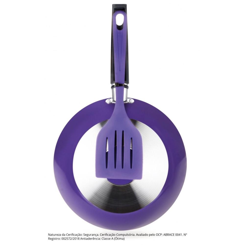 Kit Frigideira Antiaderente N.20 E Espátula Linha Color Violeta Ref:77920az - Multiflon