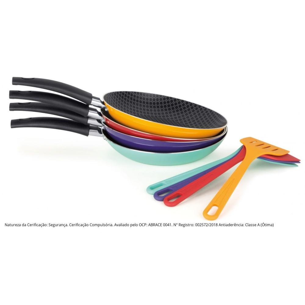Kit Frigideira Antiaderente N.22 E Espátula Linha Color Violeta Ref:77922az - Multiflon