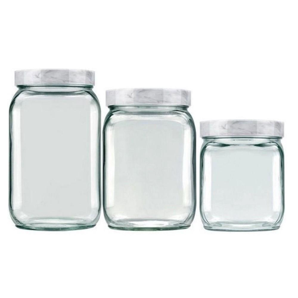 Kit Potes Quadrados Marble Branco Carrara Ref:101997091912 - Newell
