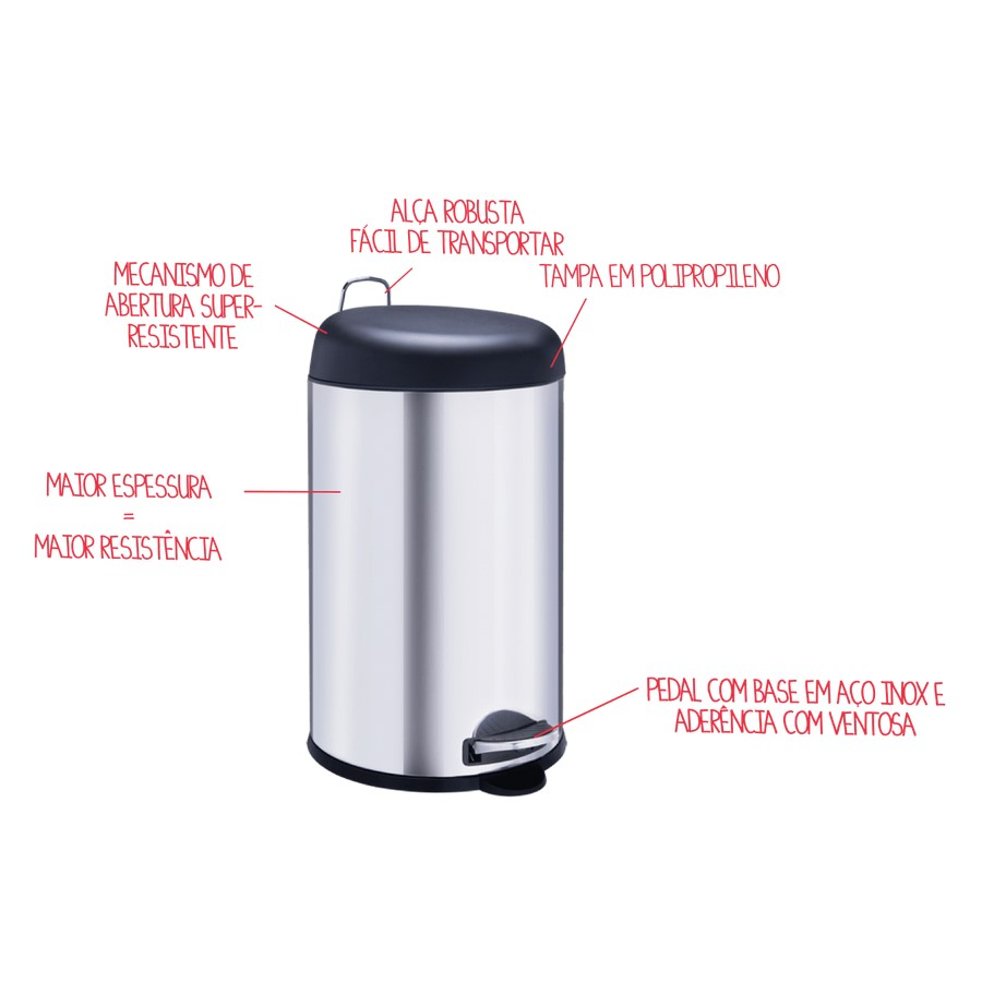 Lixeira Inox Com Pedal 12 Litros Tampa Preta Ref:3048/203 - Brinox