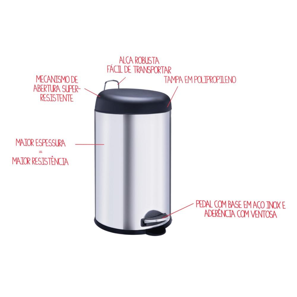 Lixeira Inox Com Pedal 5 Litros Tampa Vermelha Ref:3048/212 - Brinox