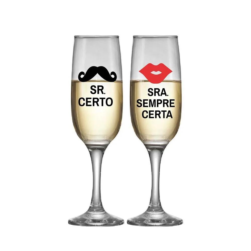 Luva De Taças De Champagne Sr Certo Sra Certa Com 2 Peças 215ml Ref:25180725 - Ruvolo