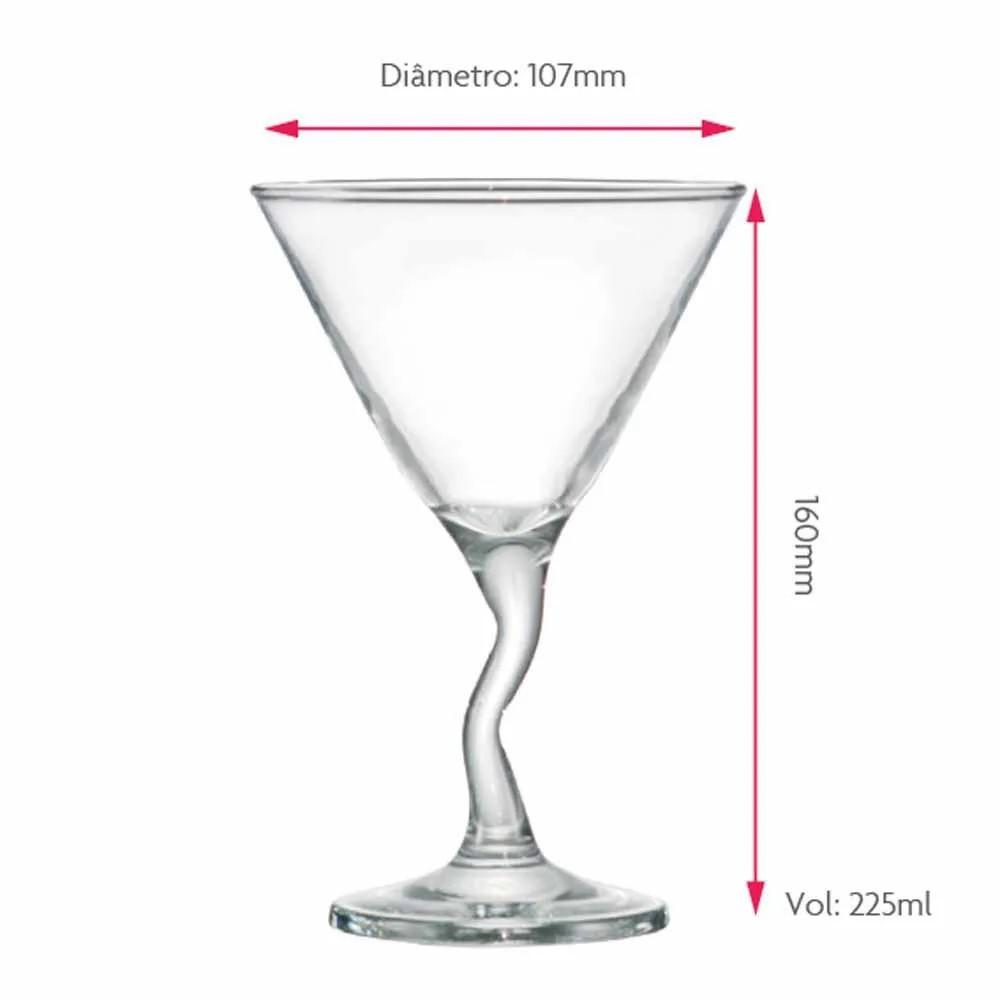 Luva De Taças Martini Twister Com 4 Peças 225ml Ref:480564 - Ruvolo
