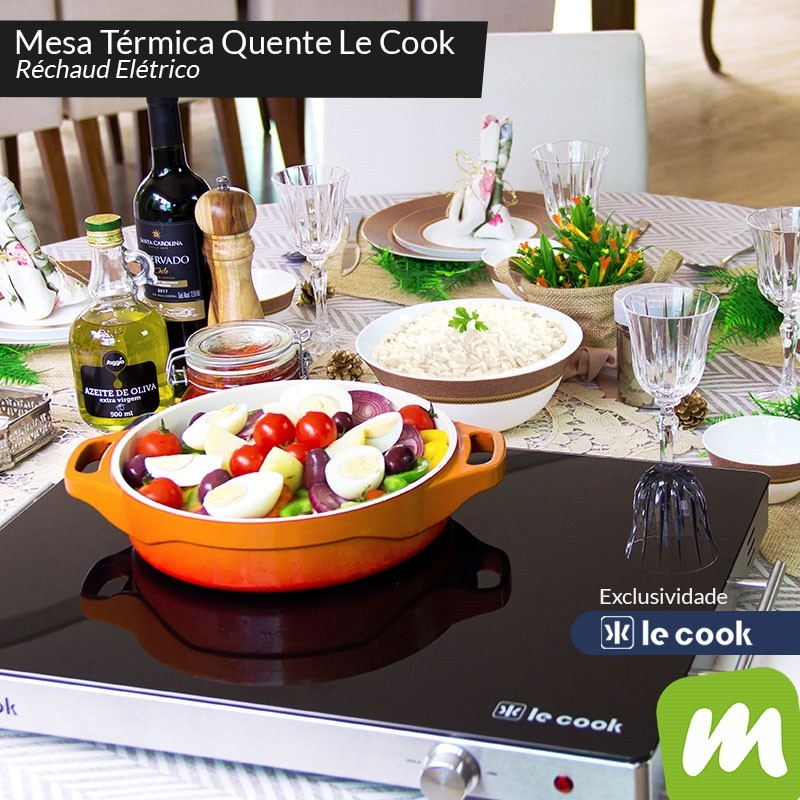 Mesa Térmica 400w Com Tampo Em Vidro Temperado 60x41x5,7cm 220v Ref:lc1701 - Le Cook