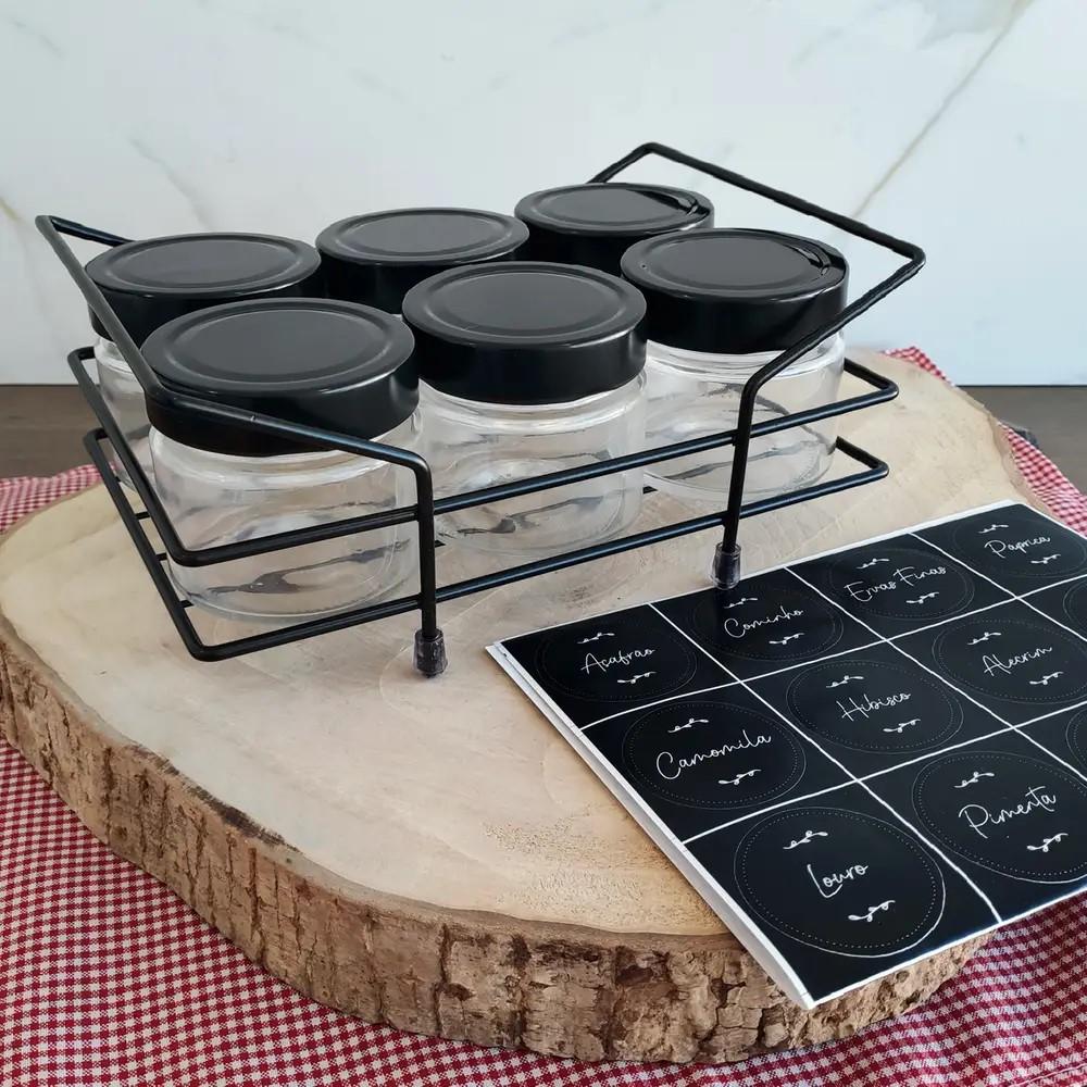 Porta Chá E Condimento Preto Ref:800226 - Forma Inox