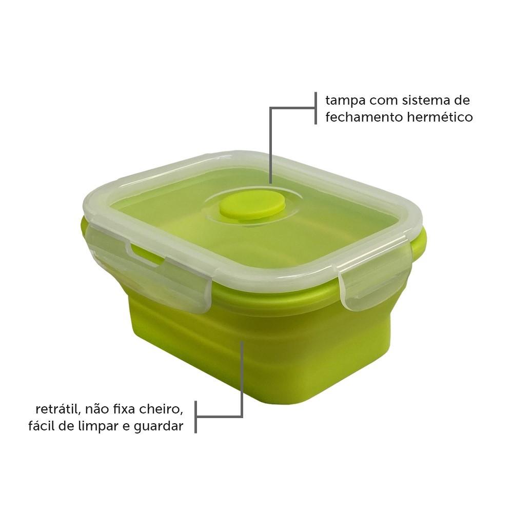 Pote Plástico Retrátil Em Silicone Verde Ref:4163 - Yuze